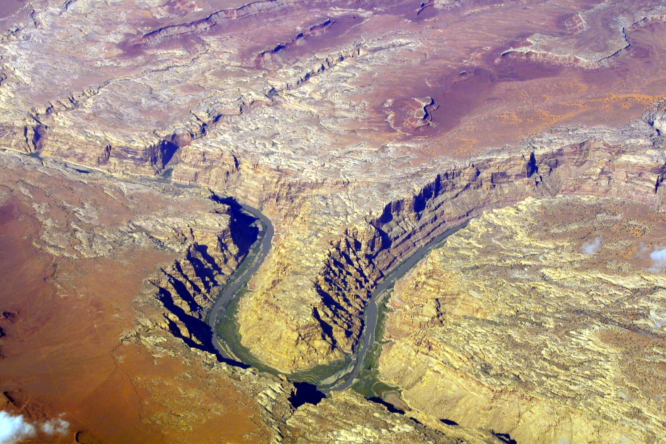 Aerial view of a canyon meandering