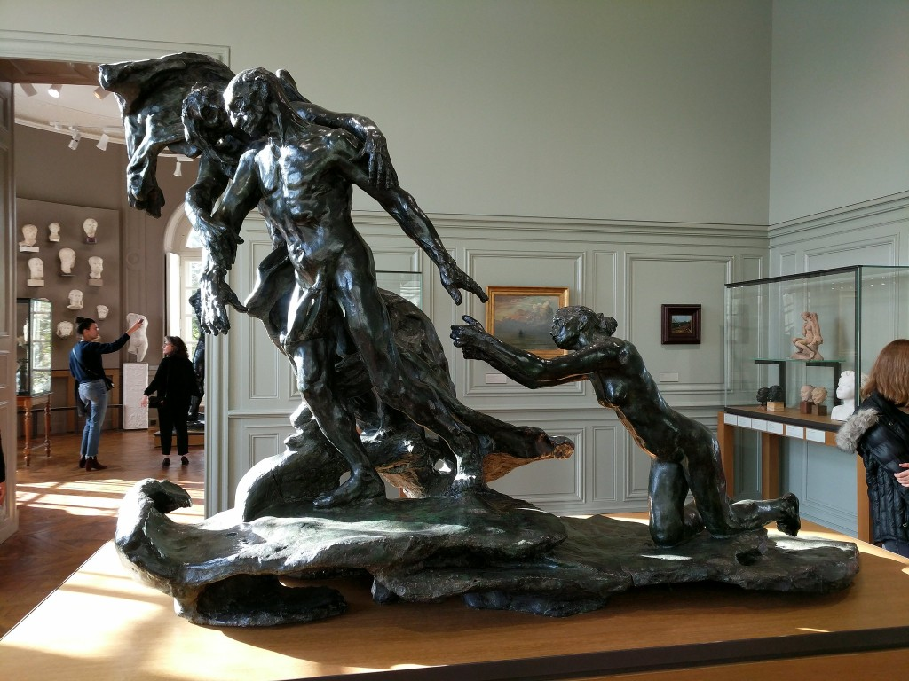 "Camille Claudel's sculpture ""The Mature Age"" illustrates the abandonment of principle as the subject matures."